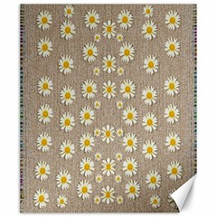 Star Fall Of Fantasy Flowers On Pearl Lace Canvas 20  X 24
