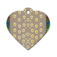 Star Fall Of Fantasy Flowers On Pearl Lace Dog Tag Heart (one Side)