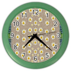 Star Fall Of Fantasy Flowers On Pearl Lace Color Wall Clocks