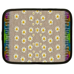 Star Fall Of Fantasy Flowers On Pearl Lace Netbook Case (large)