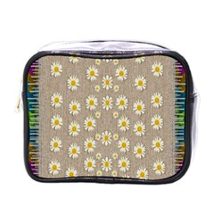 Star Fall Of Fantasy Flowers On Pearl Lace Mini Toiletries Bags