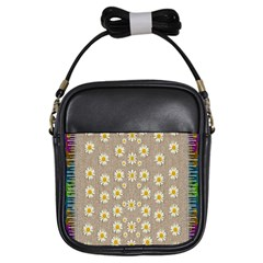 Star Fall Of Fantasy Flowers On Pearl Lace Girls Sling Bags