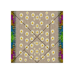 Star Fall Of Fantasy Flowers On Pearl Lace Acrylic Tangram Puzzle (4  X 4 )