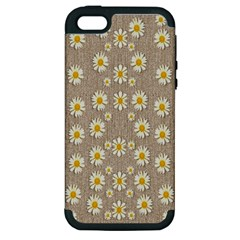 Star Fall Of Fantasy Flowers On Pearl Lace Apple Iphone 5 Hardshell Case (pc+silicone)