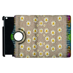 Star Fall Of Fantasy Flowers On Pearl Lace Apple Ipad 3/4 Flip 360 Case
