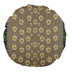 Star Fall Of Fantasy Flowers On Pearl Lace Large 18  Premium Round Cushions