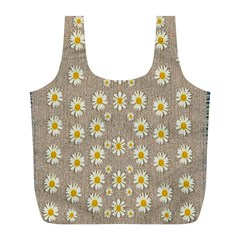 Star Fall Of Fantasy Flowers On Pearl Lace Full Print Recycle Bags (l)