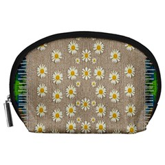 Star Fall Of Fantasy Flowers On Pearl Lace Accessory Pouches (large)