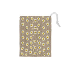 Star Fall Of Fantasy Flowers On Pearl Lace Drawstring Pouches (small)