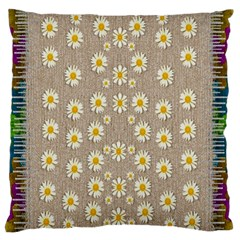 Star Fall Of Fantasy Flowers On Pearl Lace Large Flano Cushion Case (two Sides)