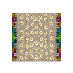 Star Fall Of Fantasy Flowers On Pearl Lace Satin Bandana Scarf
