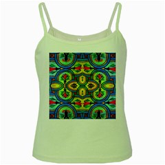 L ooera In Lyrical Abstraction Green Spaghetti Tank