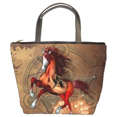 Awesome Horse  With Skull In Red Colors Bucket Bags
