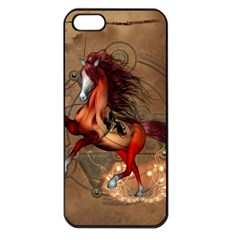 Awesome Horse  With Skull In Red Colors Apple Iphone 5 Seamless Case (black)