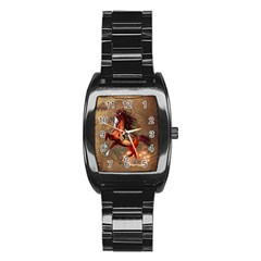 Awesome Horse  With Skull In Red Colors Stainless Steel Barrel Watch