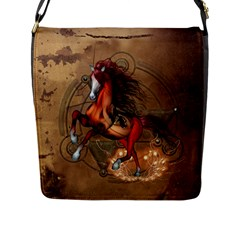 Awesome Horse  With Skull In Red Colors Flap Messenger Bag (l)