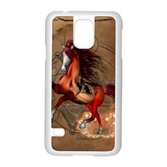 Awesome Horse  With Skull In Red Colors Samsung Galaxy S5 Case (white)