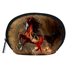 Awesome Horse  With Skull In Red Colors Accessory Pouches (medium)