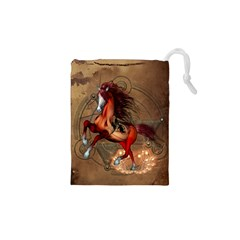 Awesome Horse  With Skull In Red Colors Drawstring Pouches (xs)