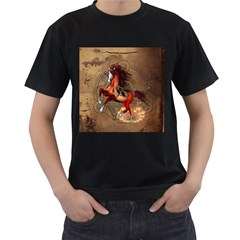 Awesome Horse  With Skull In Red Colors Men s T Shirt (black)
