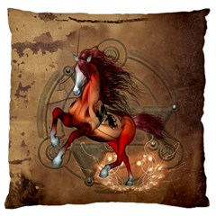 Awesome Horse  With Skull In Red Colors Standard Flano Cushion Case (two Sides)