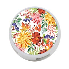 Autumn Flowers Pattern 1 4 Port Usb Hub (two Sides)