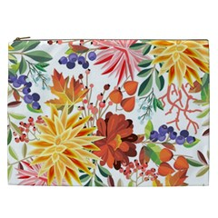 Autumn Flowers Pattern 1 Cosmetic Bag (xxl)