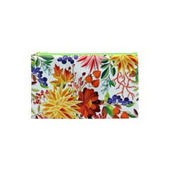 Autumn Flowers Pattern 1 Cosmetic Bag (xs)