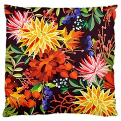 Autumn Flowers Pattern 2 Large Flano Cushion Case (two Sides)