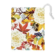 Autumn Flowers Pattern 3 Drawstring Pouches (extra Large)