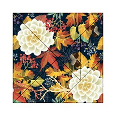 Autumn Flowers Pattern 4 Acrylic Tangram Puzzle (6  X 6 )