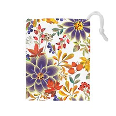 Autumn Flowers Pattern 5 Drawstring Pouches (large)