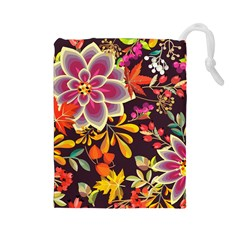 Autumn Flowers Pattern 6 Drawstring Pouches (large)