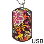 Autumn Flowers Pattern 6 Dog Tag USB Flash (One Side) Front