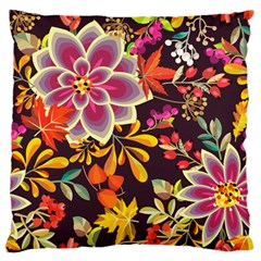 Autumn Flowers Pattern 6 Large Flano Cushion Case (two Sides)