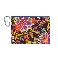 Autumn Flowers Pattern 6 Canvas Cosmetic Bag (m)