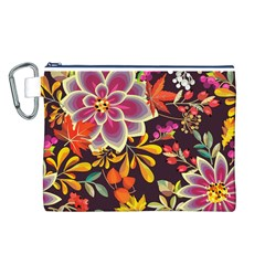 Autumn Flowers Pattern 6 Canvas Cosmetic Bag (l)