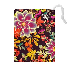 Autumn Flowers Pattern 6 Drawstring Pouches (extra Large)