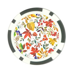 Autumn Flowers Pattern 7 Poker Chip Card Guard (10 Pack)