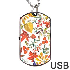 Autumn Flowers Pattern 7 Dog Tag Usb Flash (one Side)