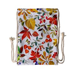 Autumn Flowers Pattern 7 Drawstring Bag (small)