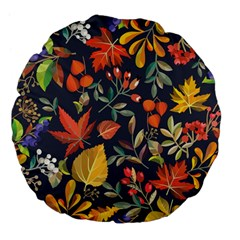 Autumn Flowers Pattern 8 Large 18  Premium Flano Round Cushions