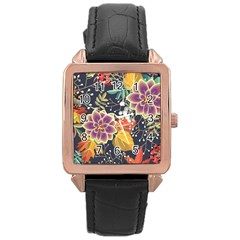 Autumn Flowers Pattern 10 Rose Gold Leather Watch