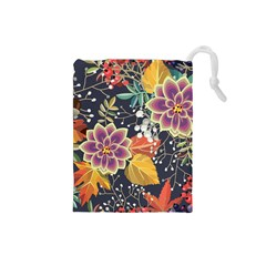 Autumn Flowers Pattern 10 Drawstring Pouches (small)