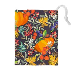 Autumn Flowers Pattern 12 Drawstring Pouches (extra Large)