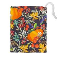 Autumn Flowers Pattern 12 Drawstring Pouches (xxl)