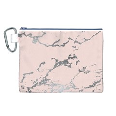 Luxurious Pink Marble 1 Canvas Cosmetic Bag (l)