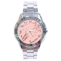 Luxurious Pink Marble 3 Stainless Steel Analogue Watch