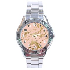 Luxurious Pink Marble 5 Stainless Steel Analogue Watch