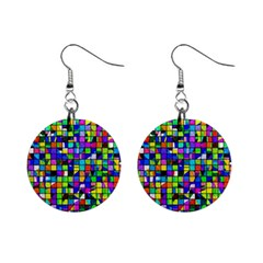 Colorful Squares Pattern                             1  Button Earrings